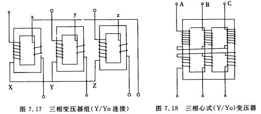三相变压器结构及变换关系