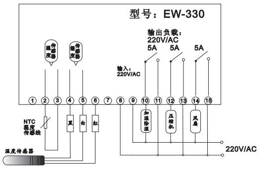 温度仪表 热敏电阻温度测量仪 03 ew-330高性价温湿度控制器,恒温