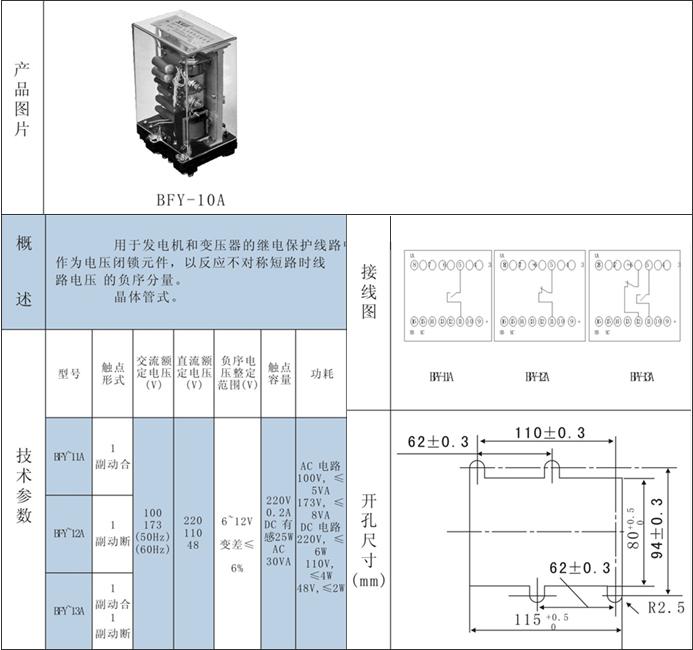 bfy-12a负序电压继电器