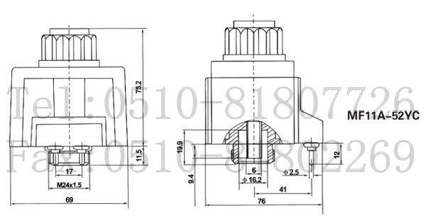 带指示灯插座的电压规格必须与电磁铁本体电压规格