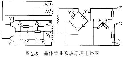 直流电压ec 经电阻r1,r2 分压供给晶体三极管v1及v2的基极偏压.