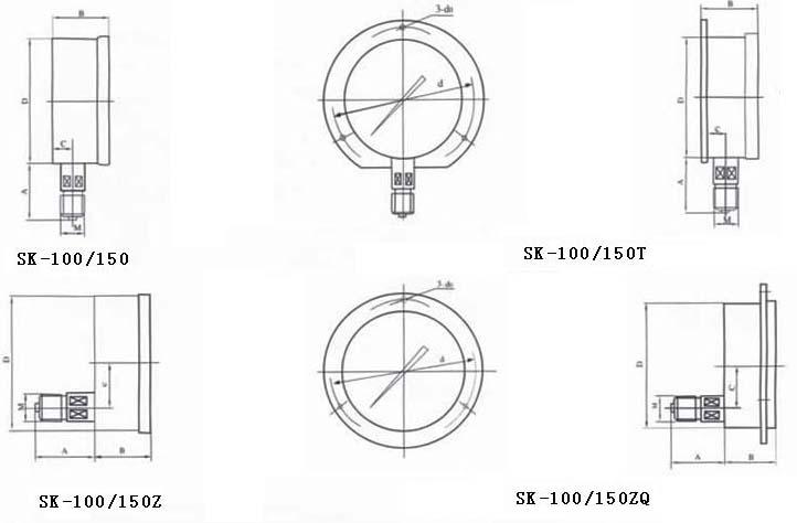 5 注:连接螺纹可按要求订货 数显压力控制器sk-100/150接线示意图