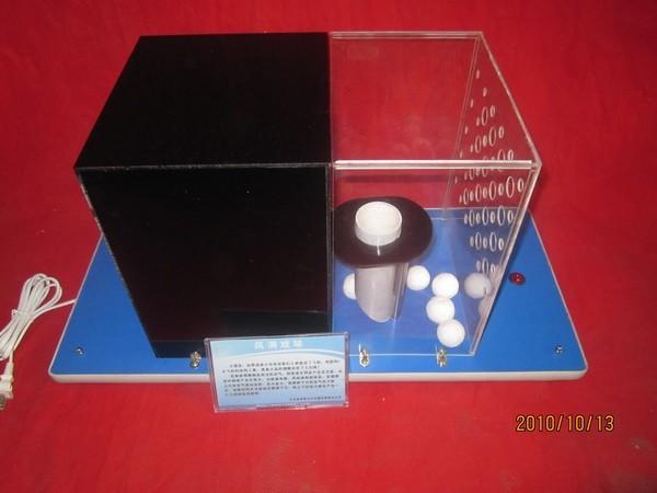 展示说明:启动电源手持乒乓球放在管子下端,球会自动浮进筒内.