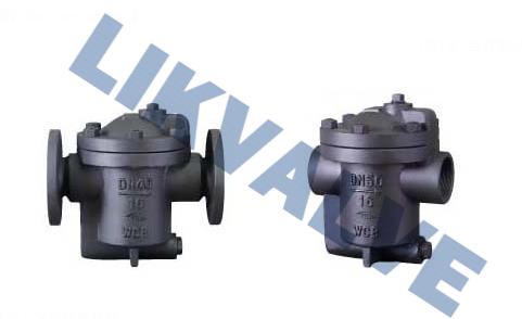 倒吊桶式蒸汽疏水阀它是利用冷凝水和蒸汽密度差的工作原理,内部结构图片
