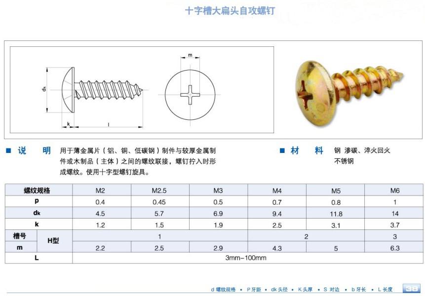壓力儀表 液體壓力計 大扁頭螺絲釘  大扁頭螺絲釘又叫大盤頭螺絲釘系圖片
