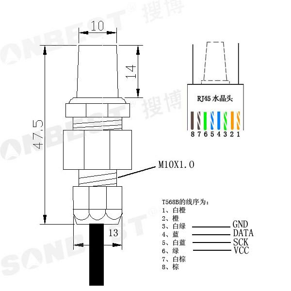 串口接口防护型数字温湿度传感器slht12-1