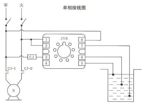 jyb晶体管液位继电器的接线图