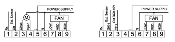 msre07模拟量风机盘管温控器接线示意图