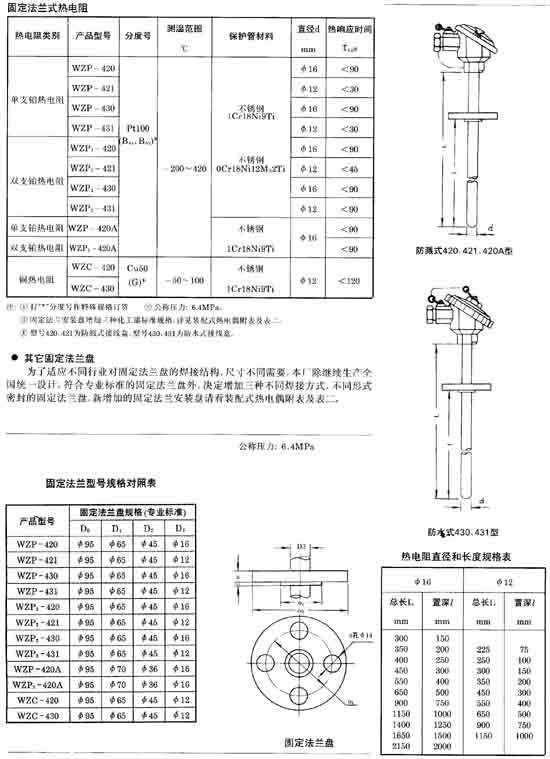 pt100热电阻生产厂家